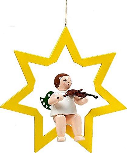 Vensterafbeelding engel in ster met viool zonder kroon hoogte 38 cm NIEUW raamdecoratie muurschildering Ertsgebergte hout