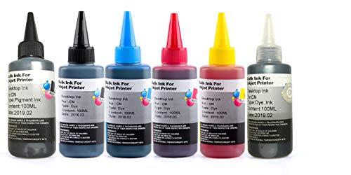 キャノン CANON 詰め替え 互換インク100ml 6色セット PGBK顔料(BK/C/M/Y/GY 染料) 補充用インクボトル