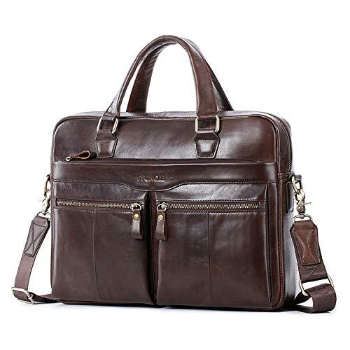 Leder Aktentaschen Herren/Damen 14 Zoll Laptoptaschen Businesstasche Schultertasche Henkeltasche Tote Tasche