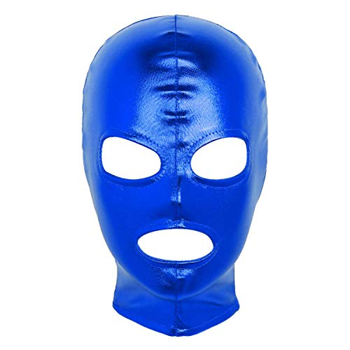 winying Unisex Adult Shiny Metallic Halloween Cosplay Costume Open Eyes Mouth Full Face Mask Zentai Hood Headgear Blue One Size