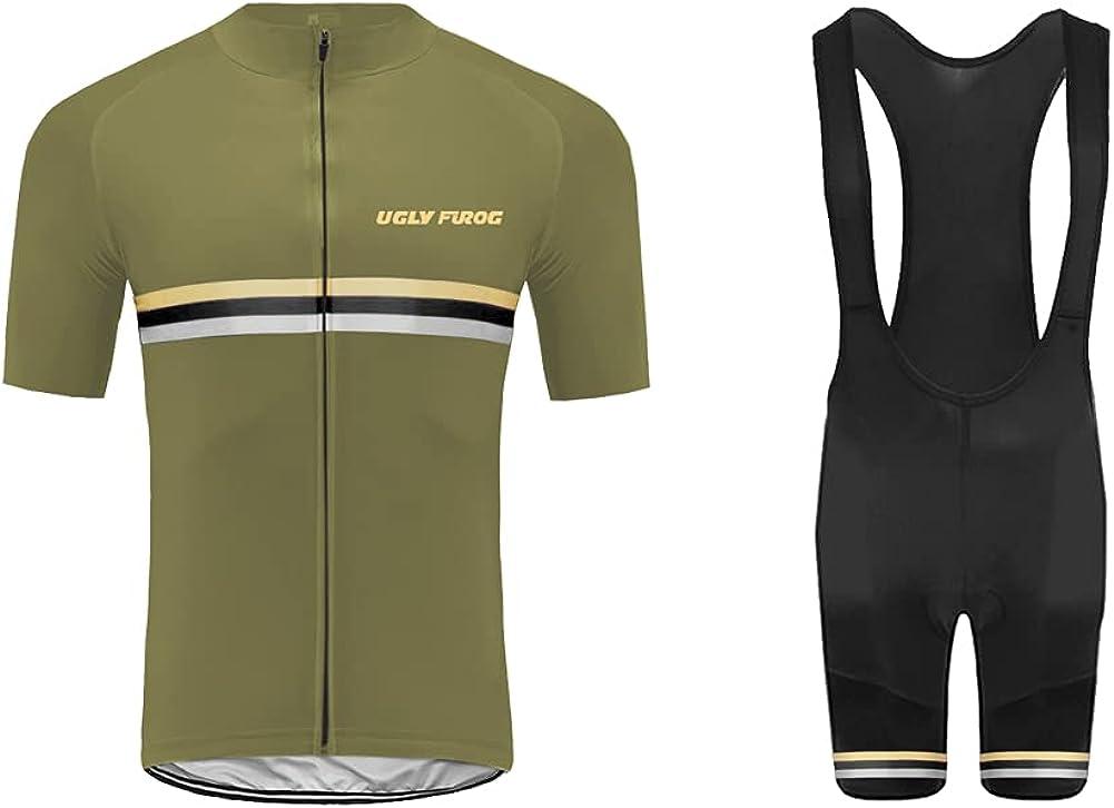 Uglyfrog MTB Maillot Ciclismo Hombre Verano Respirable Secado Rápido Camisa de Sin Mangas y Bib Pantalones Cortos de Gel Acolchado Chalecos Set ESH19VS05