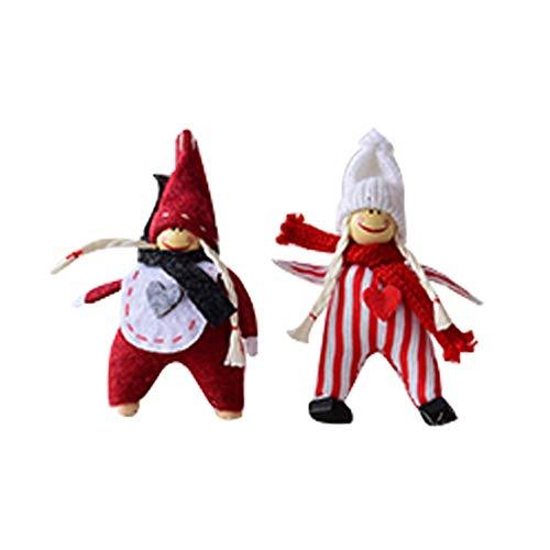 Da.Wa 1 par Pareja Adornos navideños Muñeca de la decoración de la Navidad Decoraciones de Escena Que cuelga Adornos de Navidad 7 * 12cm (P)