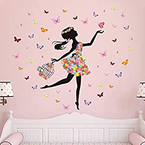 Supzone Butterfly Girl Wall Stickers Flowers Fairy Wall Decal for Girls Baby Nursery Bedroom Living Room Kids Bathroom Wall Decor Mural