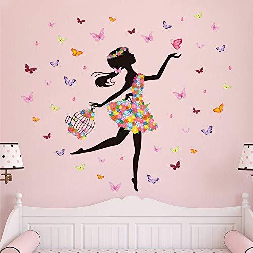 Supzone Pegatinas de pared con diseño de rejilla de mariposas, decoración de pared, para niñas, guardería, adolescente, niña, dormitorio, cuarto de baño