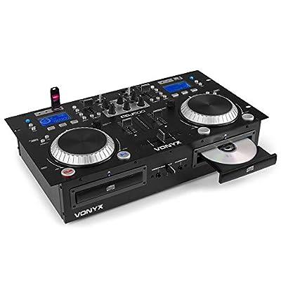 VONYX CDJ-500 Dual Twin CD USB Player 2-CH DJ Amplified Mixer Bluetooth Jog Wheels CUE