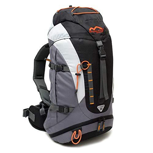 MONTIS VENTURE 30 Unisex Trekking-Rucksack, Wander-Rucksack & Reise-Rucksack in einem, ermöglicht dank Regenschutz auch Bike- & Campingtouren, im Militär-Rucksack Look mit viel Extras & Belüftungssystem