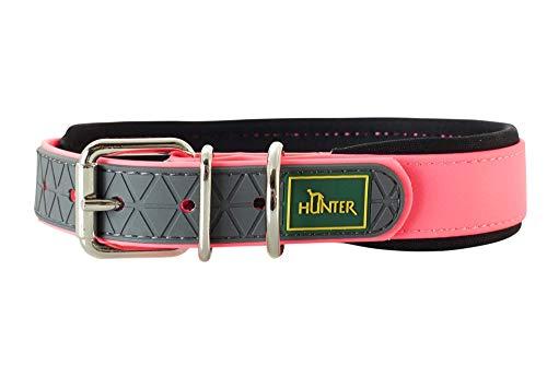 HUNTER CONVENIENCE COMFORT Hundehalsband, Kunststoff, Neopren, wasserfest, schmutzabweisend, gepolstert, 55 (M-L), neonpink