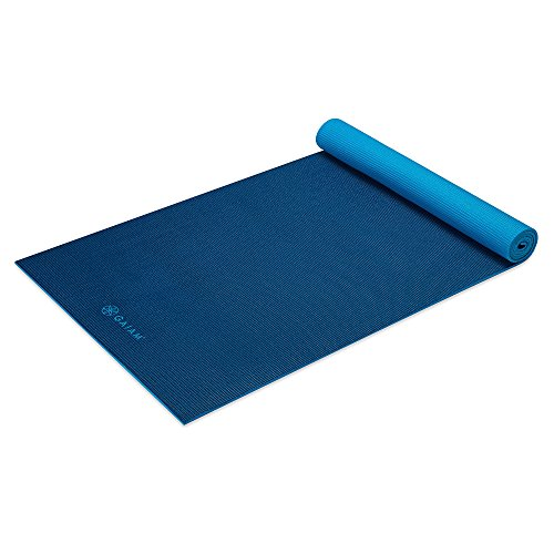 Gaiam Yoga Mat Premium Solid Color Reversible Non Slip Exercise & Fitness Mat for All Types of Yoga, Pilates & Floor Workouts, Navy/Blue, 6mm