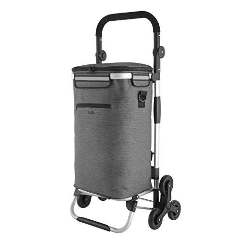 RADA Einkaufstrolley ER/10 Treppensteiger   praktischer Einkaufstrolley für Jung & Alt   mit integrierter Kühltasche   einfach aufzubauen   aus strapazierfähigem Polyester (Grey 2tone)