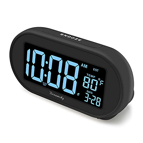 DreamSky Auto Time Set Alarm Clock with 0-100% Dimmable Birghtness Dimmer, USB Charging Port, Date, Auto DST, Temperature, Snooze, 4 Time Zones Digital Clocks for Adult Kids Bedroom