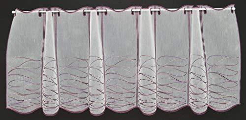 Tenda della finestra Bianco con ricamo viola | Può scegliere la larghezza in segmenti da 15,5 cm, come vuole | Colore: Bianco, l