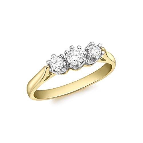 Aglaia Anello da Donna, Oro Giallo, 18 K (750), Diamante, Misura 12