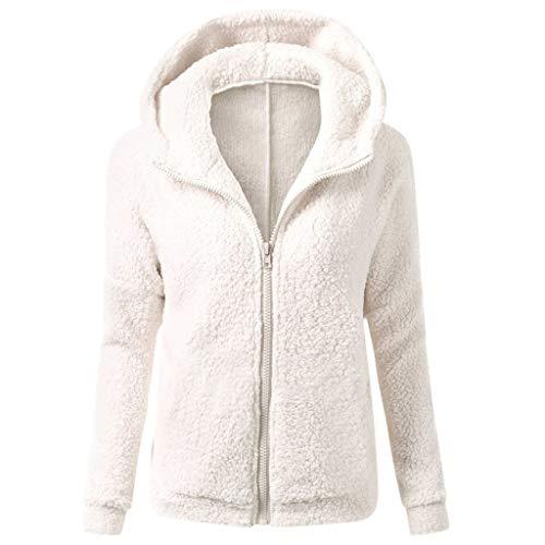 Sudadera Caliente y Esponjoso Tops Chaqueta Suéter Abrigo Jersey Mujer Otoño-Invierno Talla Grande Hoodie Sudadera con Capucha riou