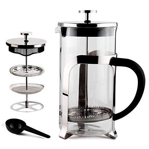 Sivaphe French press caffettiere a pistone in vetro, stantuffo e filtro in acciaio inox 1000ml(argento)