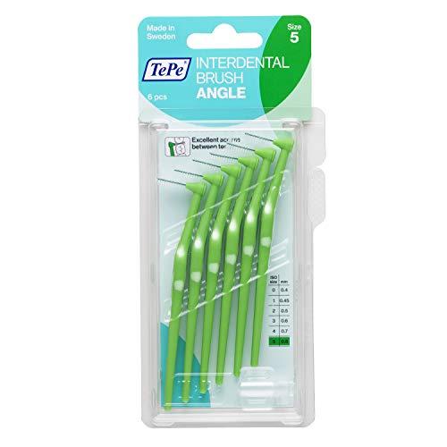 TePe Angle Interdentalbürsten Grün (ISO Größe 5: 0,8 mm) / Kontrollierte Reinigung der Zahnzwischenräume auch an schwer zugänglichen Stellen / 1 x 6 Angle Interdentalbürsten