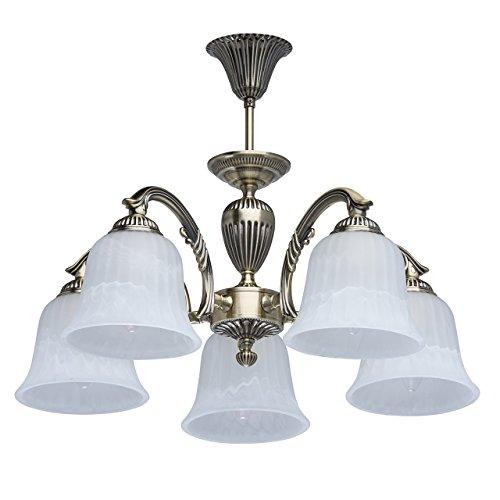 MW-Light 450014605 Kronleuchter Retro Vintage Antike Bronze Messingfarbiges Metall Mattweiße Glasschirme 5 Flammig E27 x 60W