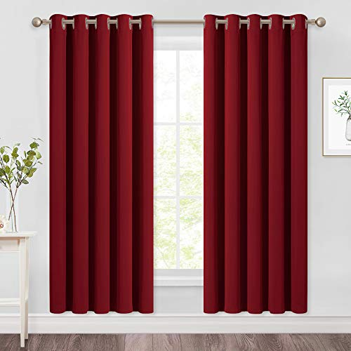 NICETOWN Blackout Curtain Panel Grommet - Home Decorations Thermal Insulated Solid Grommet Top Blackout Living Room Panels/Drapes for Gift (Burgundy Red, 1 Pair, 66 x 72-Inch)