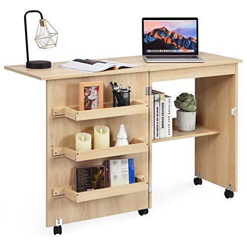 COSTWAY 2 in 1 Nähschrank und Schreibtisch, Nähtisch klappbar, Nähmaschinentisch rollbar, Nähmaschinenschrank, Mehrzwecktisch, Arbeitstisch für Wohnzimmer, Schlafzimmer und Büro, 59x40x79,5 cm (Beige)