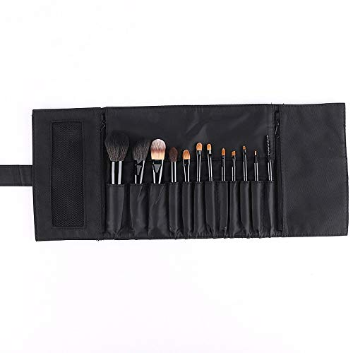 Pinceaux de maquillage femmes 12pcs pinceaux de maquillage avec étui Premium Premium Kit pinceau de maquillage professionnel Doux (Color : Noir, Size