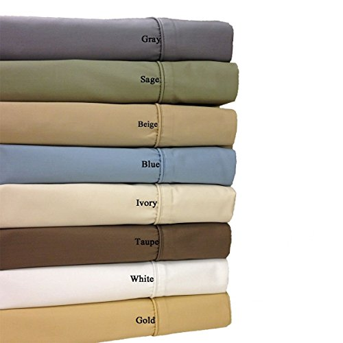 Royal Hotel 650-Thread-Count Bed Pillowcases - Wrinkle Free Pillow Cases - Cotton Blend, Sateen Pillowcases, Hypoallergenic, 2 Piece - Standard - Sage