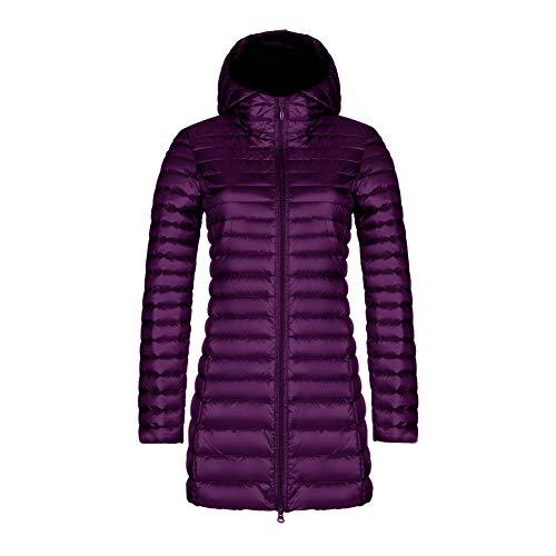 Packbar dunjacka kvinnor med huva ultralätt lång vinter puffer kappa med handväska M-4XL