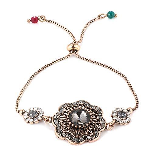 Pulsera de flores de cristal gris para las mujeres antiguas de la India pulseras de longitud ajustable vintage joyería de boda gris longitud ajustable