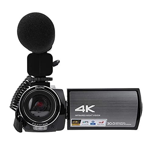 Cámara HDR-AE8 4K HD 3.0 pulgadas Pantalla táctil 4K Cámara 1800MAH Batería de gran capacidad, para bodas / Industria educativa / Documental de noticias(Standard + microphone + battery, transparency)