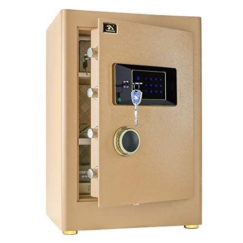 TIGERKING Digital Security Safe Box for Home Office Double Safety Key Lock and Password 2.05 Cubic Feet