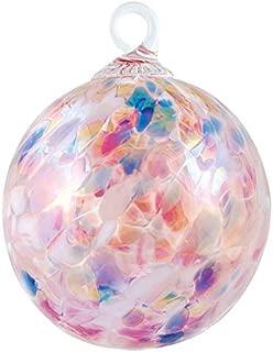 Red Co. Iridescent Glass Eye Studio Hand Blown Ball Ornament, Cherry Blossom
