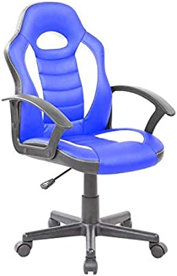AMUEBLALO - Silla de Escritorio Oficina elevable, Respaldo ergonómico tapizada símil Piel Cady - Azul