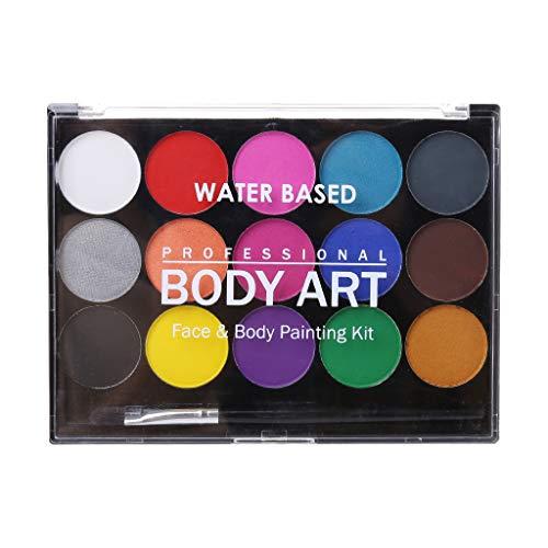 WINJEE, 15 Colores, no tóxicos, solubles en Agua, Pintura Corporal, pigmentos, Maquillaje,...
