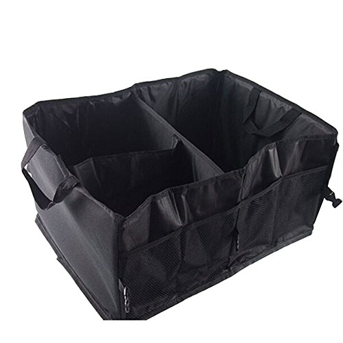 bluelans® Organiseur de coffre pliable idéal Shopping Rangement Pliable, 3 compartiment Organiseur pour voiture – 55 cm x 40 cm x 26 cm – noir