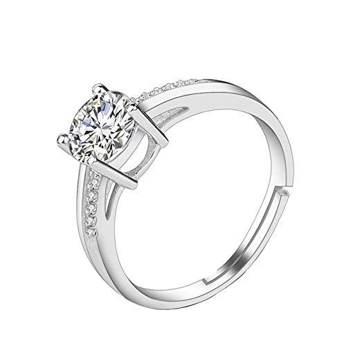 Craftuneed Anillo ajustable de cuatro puntas de diamante sintético de platino de 18 quilates para mujeres, niñas, hombres, regalo de cumpleaños, compromiso, joyería de regalo