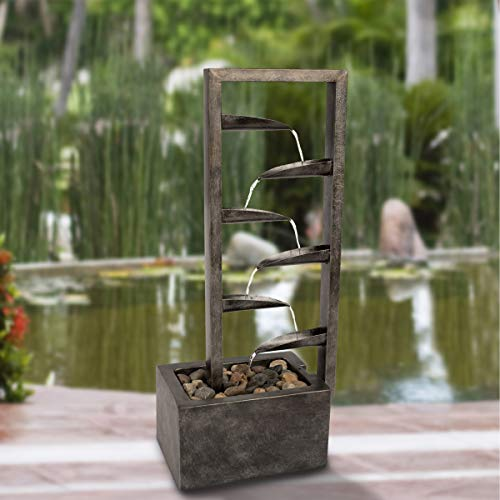 7-Tier Water Fountain – Modern Decorative Concrete and Metal Electric Outdoor Industrial Cascading Waterfall Feature by Pure Garden