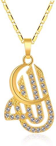 huangxuanchen co.,ltd Halskette Mond Tschechische Bohrmaschine Unisex Nahöstlichen Muslimischen Anhänger Halskette Für Goldfarbe Islam Religionen Schmuck Zubehör 45 cm Kette