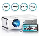 HOLLYWTOP Proyector Cine en Casa , Mini Video Proyector Portatil Mejorado de 4200 Lúmenes con Pantalla de 180'' máx, 60000 Horas de Vida útil de la Lámpara, Ayudas 1080P USB/ HDMI/ SD/ AV/ VGA - EU