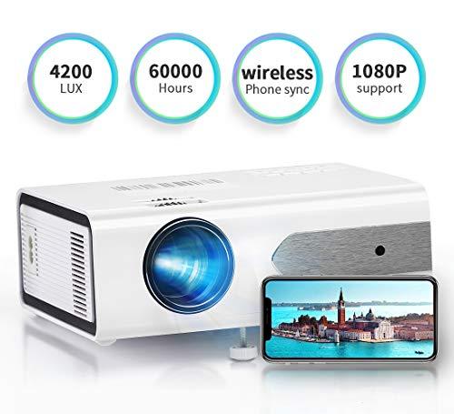 HOLLYWTOP Home Theater Proiettori, Mini Proiettore Portatile, Video proiettore da 4200 Lumens con Max 180'' Display, durata della lampada 60000 ore, Compatibile con 1080P USB/ HDMI/ SD/ AV/ VGA - EU