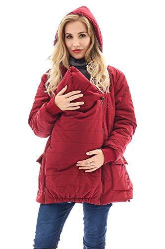 Bearsland Maternity Babywearing Pregnancy Jacket Coat Mother's Down Duffle Coat with Windproof Waterproof,WineRed,L