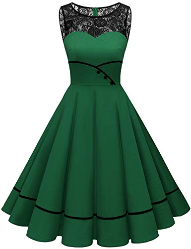 Bbonlinedress Vestido Vintage para Muejeres de Fiesta Cóctel Rockabilly Clásico sin Mangas Green L