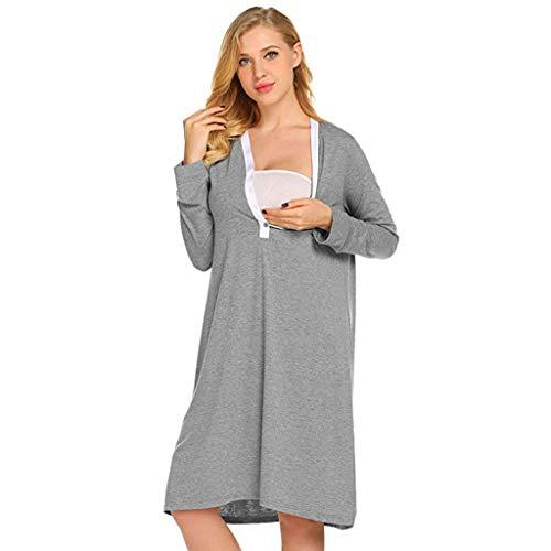 STRIR Premamá Pijama Conjunto Camiseta y Leggins Lactancia Maternidad Mujer - Premamá Camisón/Bata/Pijama (XL, Gris)
