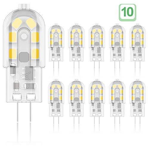 Phoenix-LED G4 Bombilla,2W Equivalente a 20W Halógena, Blanco Cálido 3000K, 200LM,AC/DC 12V,Pack de 10 Unidades