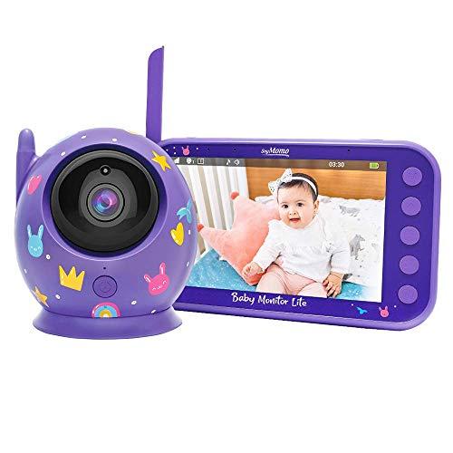 SoyMomo Vigilabebés Inalámbrico con Cámara y Audio, Bebé Monitor Inteligente con Visión Nocturna y Sensor de Temperatura (Lila)