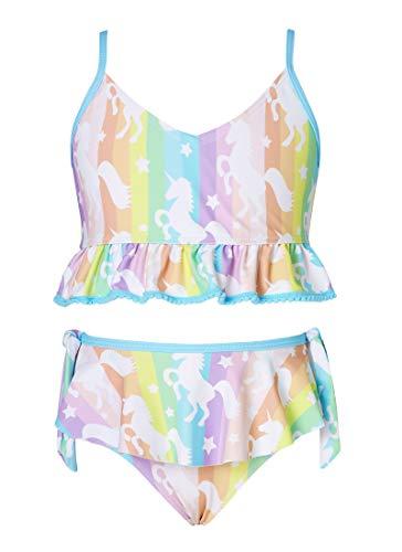 AIDEAONE Mädchen 2 STK Bikini Badeanzug Kinder Komfortable Sonnensicher Gedruckt Katzen uv Badebekleidung Alter 6 Für Urlaub Strand Schwimmen Surfen