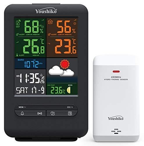 Youshiko (offizielle UK-Version/Premium-Qualität), großer Bildschirm, kabellose Wetterstation, Funkuhr, Innen- und Außenbereich, Temperatur-Thermometer, Luftfeuchtigkeit, Luftdruck, Hitze-Index