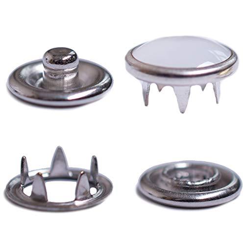 GETMORE Parts Druckknöpfe Jersey, Jersey-Snaps, Metallknöpfe, Edelstahl (INOX), rostfrei, nickelfrei - ab 50 Stück, 9,5 mm, Perlmutt