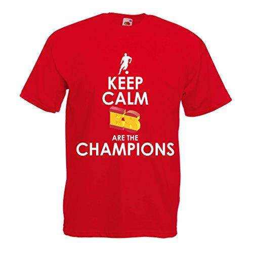 lepni.me Camisetas Hombre Españoles Son los campeones, Campeonato de Rusia 2018, Copa del Mundo - Equipo del fútbol de Camisa del admirador de España (X-Large Rojo Multicolor)