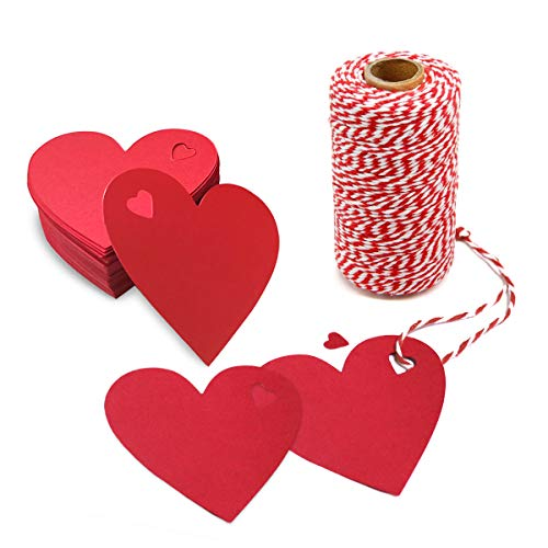 KLATIE 100 PCS Valentine Gift Tags with 110 Yard Red and White Twine, Heart Shaped Paper for Valentine's Day Party Decorations, Wedding Party Favors