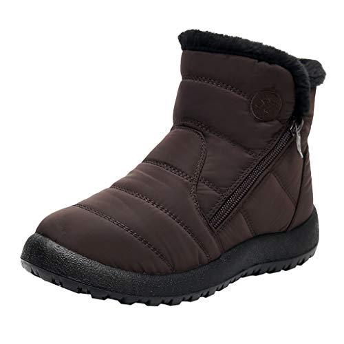 Yowablo Damen Chelsea Boots Schneeschuhe Winter Knöchel Kurz Bootie Wasserdichtes Schuhwerk Warme Schuhe (40 EU,Braun)