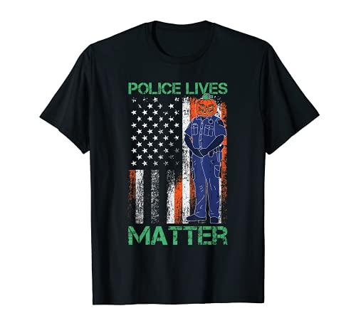 Police Lives Mater Lazy Halloween Disfraz de bandera americana Camiseta