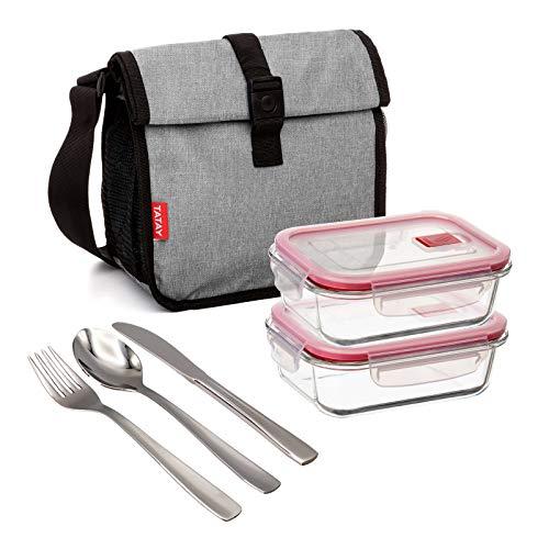 Bolsa Térmica Porta Alimentos TATAY Urban Food Roll&Go Denim Grey con 2 Contenedores Cook&Eat de 0.64L en Vidrio Borosilicato y Cubiertos Basic Niquel-Free